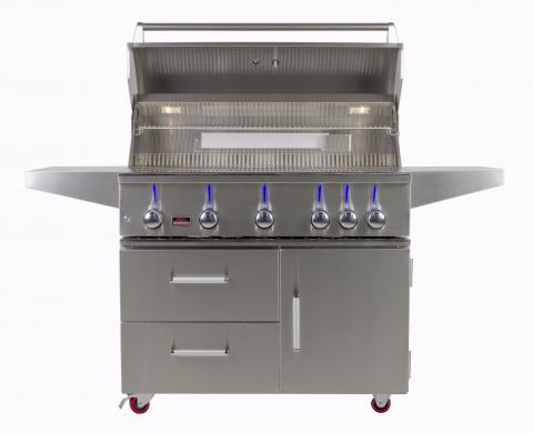 "Bonfire 42""CBB500CDC  Premium Gas Grill on a Cart, Stainless Steel"