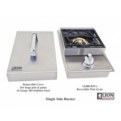 Single side burner with lid